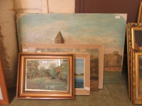 Four oils on board and canvas together with a framed and glazed watercolour of pond scene