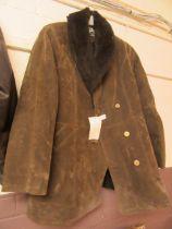 A brown sheepskin gents coat