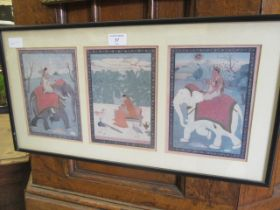 A framed and glazed coloured print of eastern scene including elephants