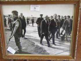 A framed and glazed photograph of Edward Heath
