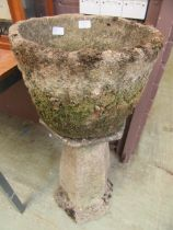 A weathered concrete garden planter on plinth