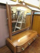 A mahogany inlaid toilet swing mirror with two trinket drawers