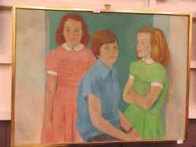 A mid-20th century oil on canvas of young children signed bottom left