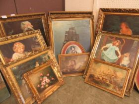A large quantity of modern ornate gilt framed prints of young ladies, still life etc.