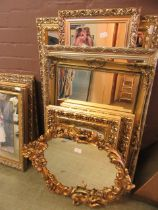 A large selection of modern ornate gilt framed wall mirrors
