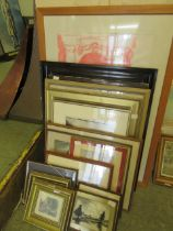 A large selection of framed and glazed watercolours and prints of various subjects