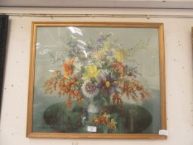 A framed and glazed print of still life after Vernon Ward