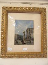 An ornate gilt framed and glazed print of 18th century street scene