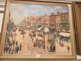 A modern gilt framed oleograph of tram scenes,