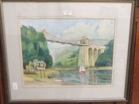 A framed and glazed watercolour of sailing ship going over tall bridge,