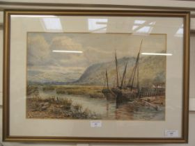 John Syer (1844-1912), Two boats moored on a river, signed and dated 1887, watercolour,