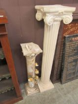 A painted plaster columned stand together with a floral decorated ceramic stand (A/F)
