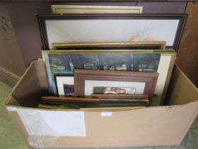 A carton of assorted framed and glazed prints, oil etc.