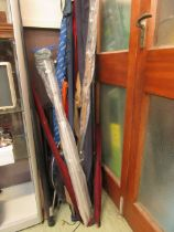 A large selection of fishing rods and other fishing equipment