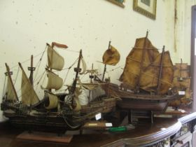 A collection of four hand crafted galleons