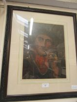 A framed and glazed oelograph of elderly gentleman smoking pipe