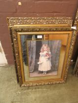 A selection of five framed and glazed prints of young ladies