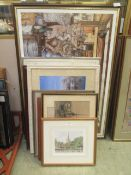 A selection of framed and glazed prints, photographs,