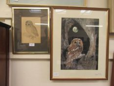 A framed and glazed print of an owl after Durer along with a framed and glazed photographic print