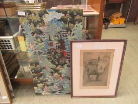A framed and glazed etching signed Robson along with an eastern painting
