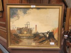 """A framed oil on board of industrial scene titled """"before the electric came"""" signed A.E."""