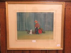 A framed and glazed oil of clown and dog signed J.