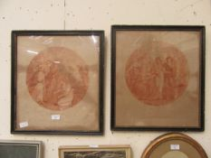 """A pair of framed and glazed etchings titled """"constantia"""" after Hamilton"""
