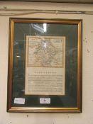 A framed and glazed print of Warwickshire