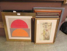 A selection of framed artworks
