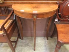 A reproduction walnut demi lune side table by Reprodux