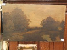 An unframed oil on canvas of countryside scene signed F.
