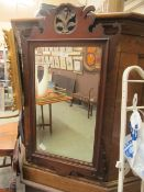A Georgian style mahogany fretwork bevel glass mirror