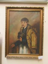 A framed oil on canvas of elderly gentleman signed top right