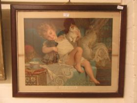 """A framed and glazed pears print titled """"playmates"""""""