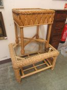 Two wicker occasional tables with glass tops