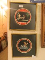 A pair of framed and glazed classical artworks signed M.