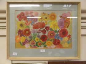 A framed and glazed painting of flowers