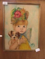 A mid-20th century oil on board of girl with dog signed Marg