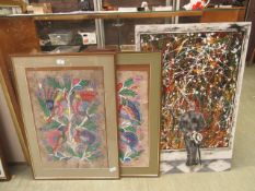 A pair of Indian tree of life paintings along with an abstract oil on board