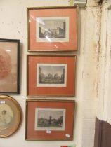A set of three framed and glazed Italian grand tour prints