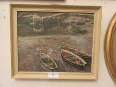 An oil on board of sailing boats in estuary scene
