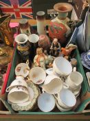 A tray of assorted ceramic ware to include cups, saucers, figurines,vases,