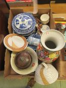 A tray of various ceramics to include tureens, bowls, cups, jasperware, biscuit barrel,
