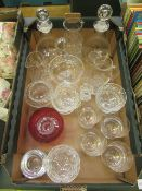 A tray of assorted glassware to include bowls, decanters, tumblers etc.