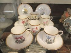 A part Royal Worcester coffee set comprising of six cups and saucers