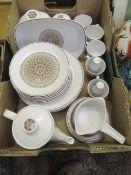 A tray of Noritaki part dinner set, tea set, to include cups, saucers, plates, coffee pot etc.