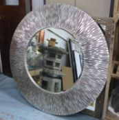 CHRISTOPHER GUY WALL MIRROR, silvered frame, 131cm Diam. (with faults around edge)