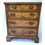 BACHELORS CHEST, George III design burr walnut and crossbanded with foldover top and four long