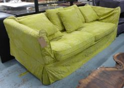 FLAMANT SOFA, green floral fabric finish, 225cm W. (with slight faults)