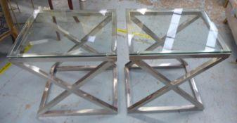 EICHHOLTZ CRISS CROSS SIDE TABLES, a pair, each with a rectangular glass top, 56cm W x 59cm H x 46cm